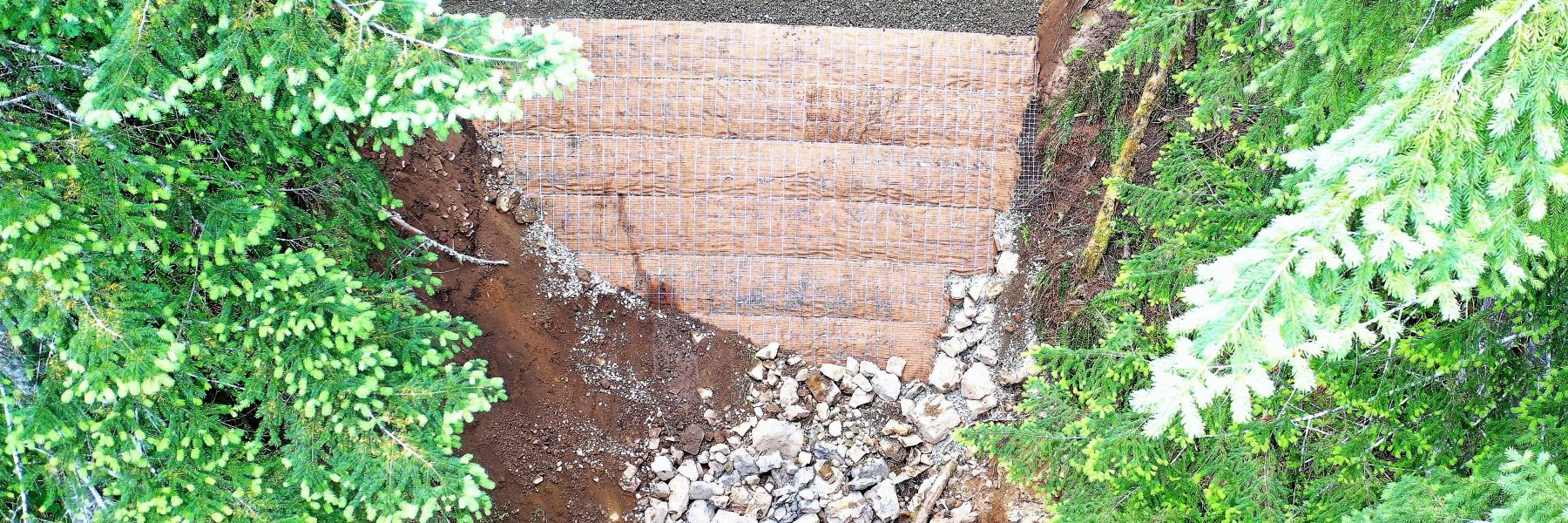 Cowlitz Valley ERFO Repairs MSE Steepened Slope wall